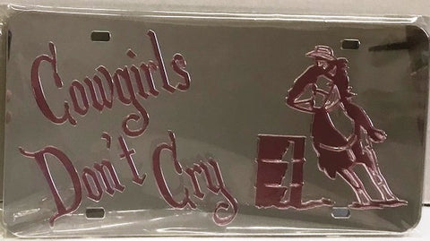 """Cowgirl's Don't Cry"" Barrel Racer Mirrored License Plate Pink Light"