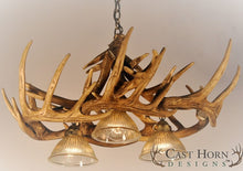 Load image into Gallery viewer, (CHD-W10DL3) Whitetail Deer 10 Antler Chandelier with 3 Downlights