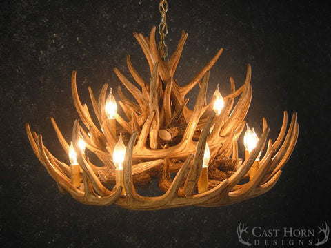 (CHD-W21C) Whitetail Deer 21 Antler Cascade Chandelier