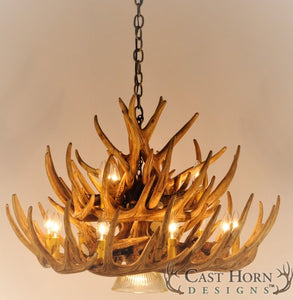 (CHD-W21CDL) Whitetail Deer 21 Antler Cascade Chandelier with Downlight