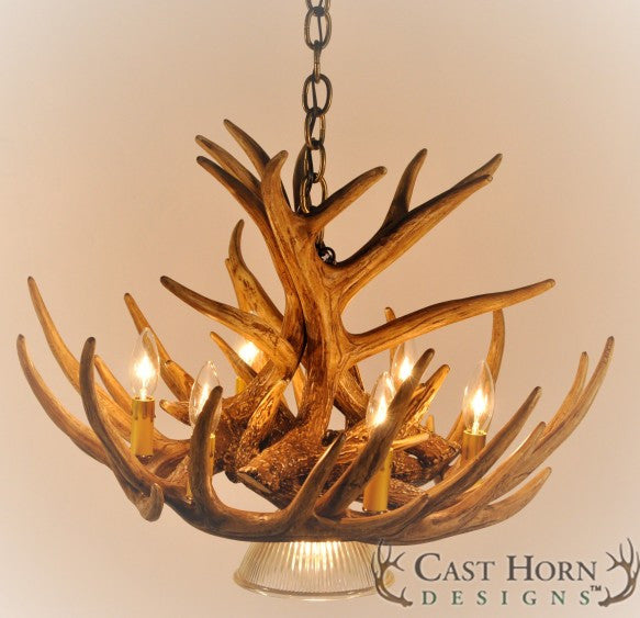 (CHD-W9CDL) Whitetail Deer 9 Antler Cascade Chandelier with Downlight