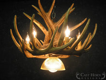 Load image into Gallery viewer, (CHD-W9CDL) Whitetail Deer 9 Antler Cascade Chandelier with Downlight