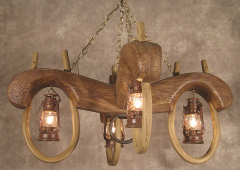 (CHY4) Reproduction Double Ox Yoke 4 Lantern Chandelier