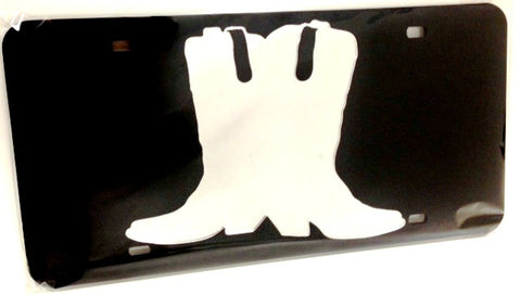 "(CLD-BTSDK) ""Boots"" Mirrored License Plate Dark"