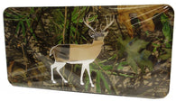 "(CLD-BUCKDK) ""Camo Buck"" Dark Mirrored License Plate"