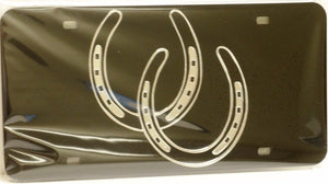 "(CLD-HS3DK) ""Horseshoes"" Dark Mirrored License Plate"