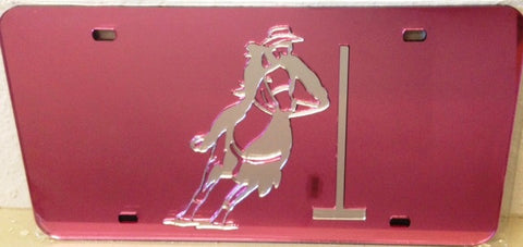 "(CLD-PBPKDK) ""Pole Bending"" Western Mirrored License Plate Pink Dark"