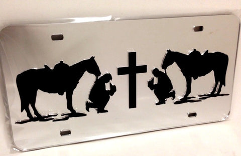 "(CLD-PCBCGLT) ""Praying Cowboy & Cowgirl"" Mirrored License Plate Light"