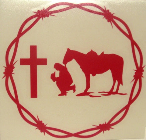 "(CLD-PCGHPKDCL) ""Praying Cowgirl Hot Pink"" Western Decal with Barbwire Border"