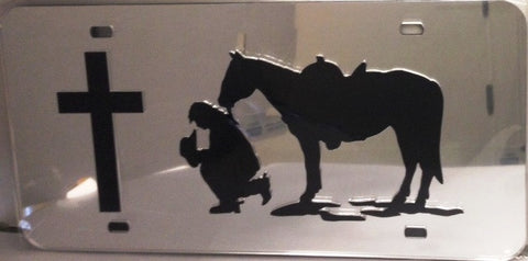 "(CLD-PCGLT) ""Praying Cowgirl"" Western Mirrored License Plate Light"