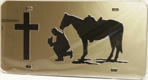 "(CLD-PCLT) ""Praying Cowboy"" Western Mirrored License Plate Light"