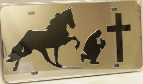 "(CLD-PCTWLT) ""Praying Cowboy & Tennessee Walker"" Mirrored License Plate Light"