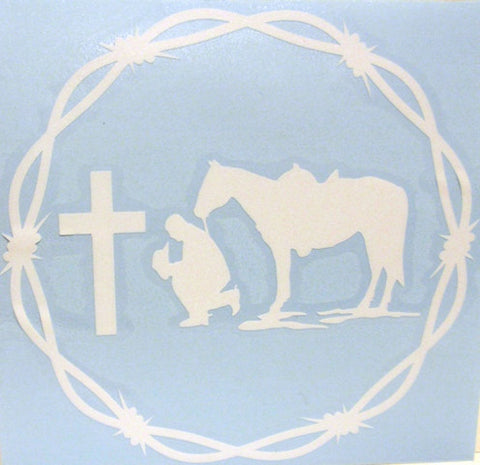 "(CLD-PCWTDCL) ""Praying Cowboy White"" Western Decal with Barbwire Border"
