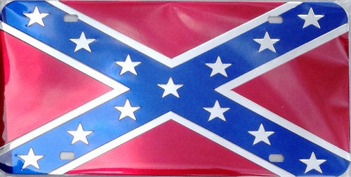 (CLD-REB) Western Confederate Flag Chrome License Plate