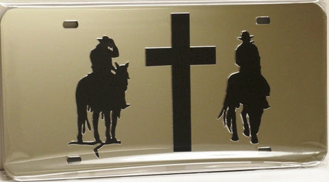 "(CLD-ROF2LT) ""Riding on Faith 2 Light"" Mirrored License Plate"
