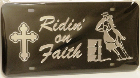 "(CLD-ROF3BRDK) ""Riding on Faith 3-Barrel Racer"" Mirrored License Plate Dark"
