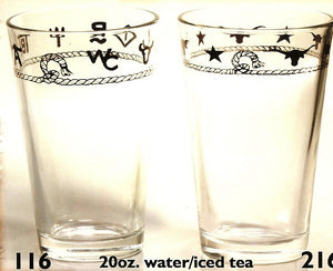 Clear 20 oz Western Water/Tea Glasses, Set of 4