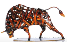Load image into Gallery viewer, Metal Sculpture Iron Braided Bull - Available in 2 Colors!