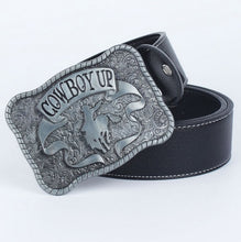 "Load image into Gallery viewer, ""Cowboy Up"" Metal Belt Buckle"