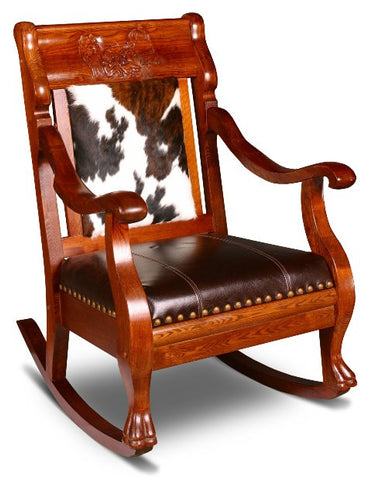 Delicieux (CR2002RHL) Western Hair On Hide And Leather Rocking Chair