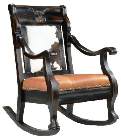 (CR2002RLH) Western Hair On Hide And Leather Rocker Longhorn