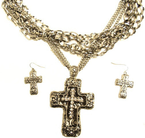(CS-JS1300) Western Silver Floating Cross in Cross Necklace with Matching Earrings