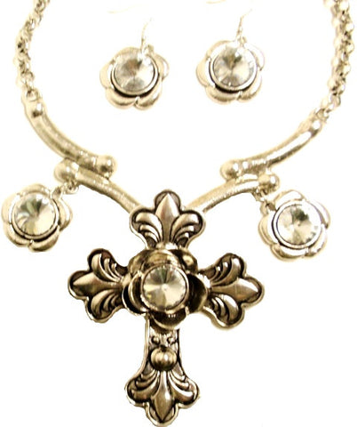 (CS-JS900) Western Antique Silver Cross Necklace and CZ Earrings