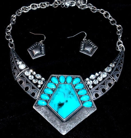 (CSN1300-BN7180SBTQ) Western Turquoise Diamond Shaped Necklace with Matching Earrings