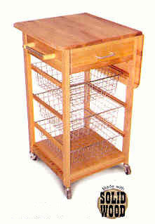 (CS7225) Drop Leaf Cart w/Baskets