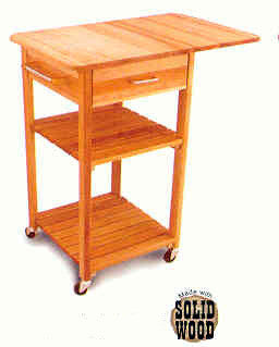 (CS7227) Drop Leaf Cart w/2-Shelves