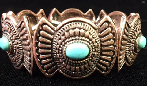 (CSBC850-TQCP) Western Copper & Turquoise Stretch Bracelet