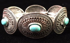 (CSBC850-TQSLV) Western Turquoise & Silver Stretch Bracelet