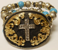 (CSBR1050-BGSCROSS) Western Silver Cross Stretch Bracelet with Turquoise Stones
