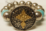 (CSBR650-GCTQ) Western Stretch Bracelet with Gold Cross and Turquoise Stones