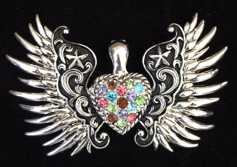 Western multi colored stone winged heart pendant wild west living csc700 wcwhp western multi colored stone winged heart pendant aloadofball Gallery
