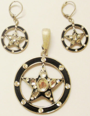 (CSC750-BKST) Western Black Stars & Circles Pendant and Matching Earrings