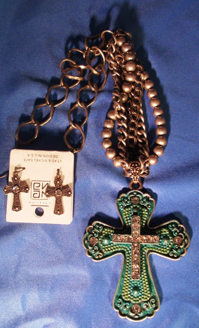 (CSJNE0119) Western Turquoise Colored Cross Necklace & Earring Set