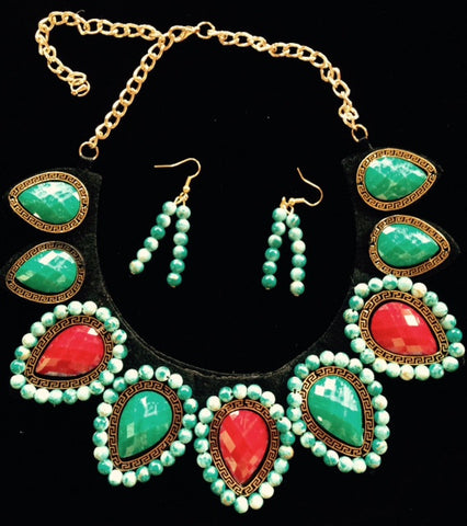 (CSN1100TQCB) Western Turquoise & Cobalt Teardrop Necklace with Matching Earrings