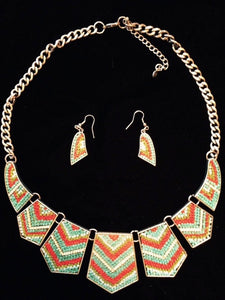 (CSN2050) Southwestern Necklace with Matching Earrings