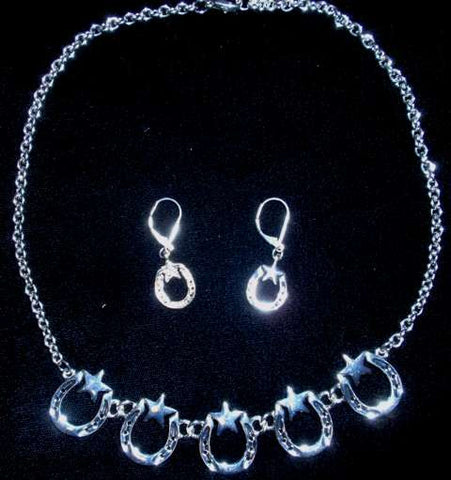 (CSN450-HSST) Western Silver Horseshoes & Stars Necklace with Matching Earrings