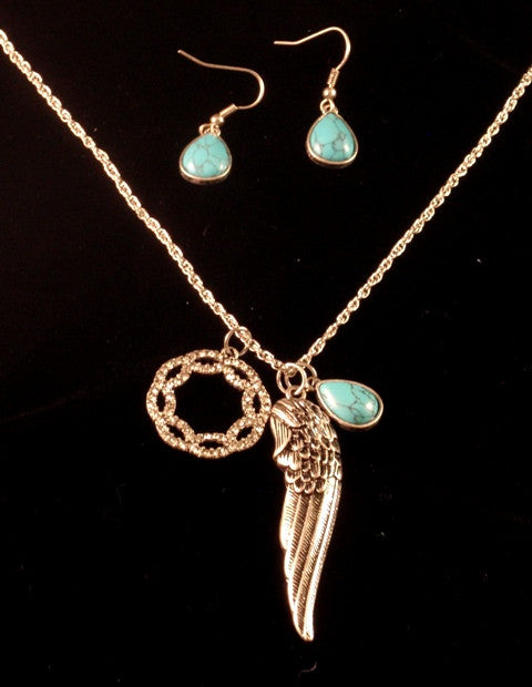 (CSN700-FSET1488) Western Anitque Silver Feather Necklace with Matching Turquoise Earrings