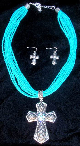 (CSN850TQCRS) Western Turquoise Cross Neckclace with Matching Cross Earrings