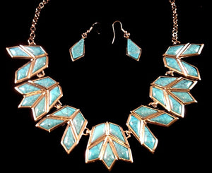 (CSN900-CN2436TQ) Western Turquoise Necklace with Matching Earrings