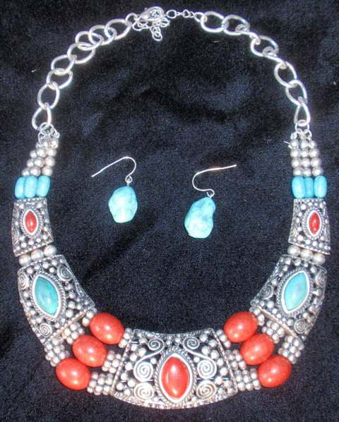 (CSNC1250TQCO) Western Turquoise & Cobalt Necklace with Matching Earrings