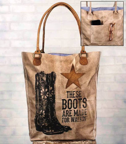"(CT510122) ""These Boots"" Canvas & Leather Market Bag"