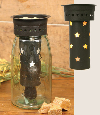 (CT8205005) Western Punched Stars Quart Mason Jar Wax Warmer Kit - Rustic Brown