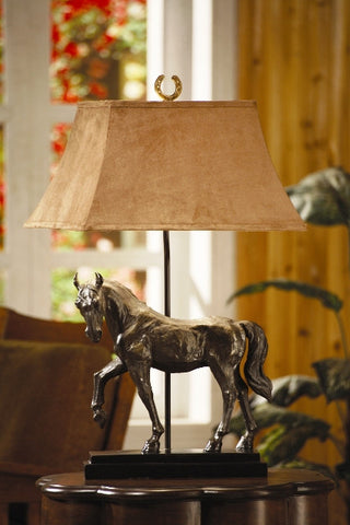 (CVAQP936) Bronze Finish Resin Horse Table Lamp