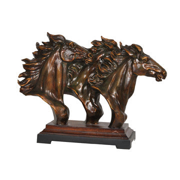 "(CVDEP062) ""Running Free"" Western Triple Horse Head Sculpture"