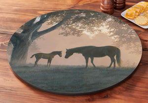 """Dawn's First Light""  Horses Lazy Susan Turntable"