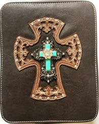 Western Bible Cover with Turquoise Cross - Coffee